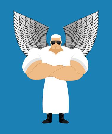 強力な天使。強力なセラフィム。神の使者。守護天使は非常に強いです。人間のプロテクター。白天使の翼。アスリートのフィットネスのボディー  イラスト・ベクター素材