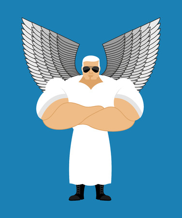 black male: Strong Angel. Powerful Seraphim. the Messenger of God. Guardian Angel is very strong. Human protectors. White Angel wings. Athlete fitness bodybuilder. Crossed arms. Illustration