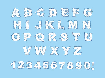 typesetter: Cloud alphabet. Cloud letters and numbers. White cloud font. Blue sky background. Set of letters and numbers