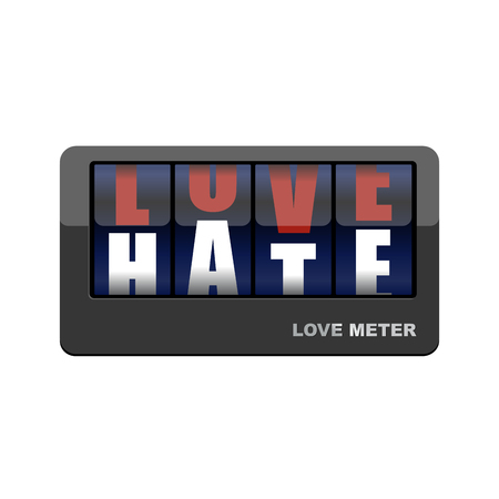 hatred: Love meter. Love and hate. Mechanical scoreboard with letters. Love gives way to hatred.