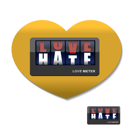 hatred: Love meter. Love and hate meter. Device for measuring instrument of love and hatred. Placards with letters.