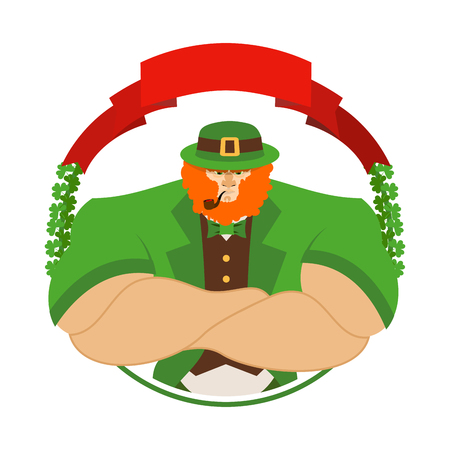 17 march: Happy Patrick day. Angry leprechaun in Green Hat. Serious big leprechaun with smoking pipe. icon for holiday in Ireland 17 March