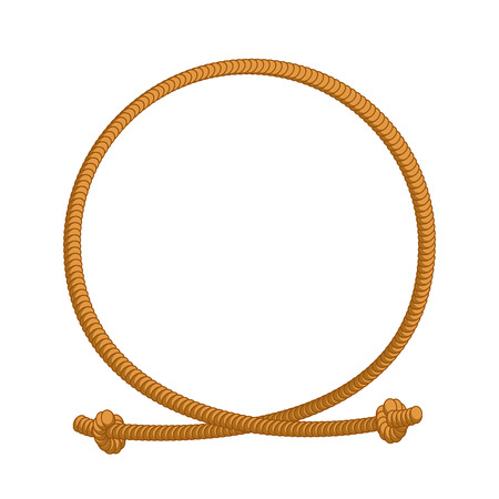 Rope loop frame. Rope rope circle with sites Illustration