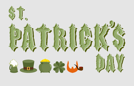 leprechauns hat: St. Patricks day. Lettering. Ancient Celtic font. Icons for a holiday in Ireland: the leprechauns hat. Pot of gold is wealth. Clover Shamrock, oxalis. Text from the Gothic font