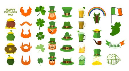 17 march: Patricks day. Set of icons. Red Beard and pipe. Leprechaun in Green Hat. Pot of gold. Shamrock and clover. Mug of beer and glass of green ALE. Magic rainbow. Flag and map of Ireland. 17 March