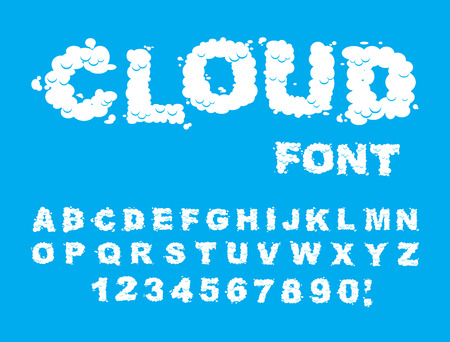 Cloud font. ABCs of white clouds in blue sky. Cloud letters and numbers. Alphabet of chubby letter cloud Stock Illustratie