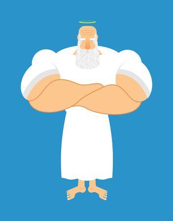 creador: Dios fuerte. Halo sobre su cabeza. Santa con el gran barba gris. Viejo Jock, atleta. gimnasio viejo. Buen dios del cielo. En serio creador del mundo. Creador del universo culturista