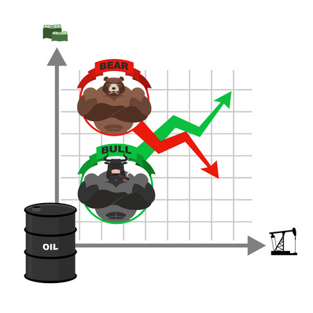 rise fall: Rise and fall of oil prices. Bets on the Exchange. Bears and bulls. Red and green arrow. Business graph. Schedule of traders on stock exchange. Sale and purchase of crude oil. Barrel of oil. Tower oil