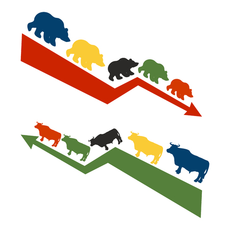 stock quotations: Bulls and bears. Rise and fall of quotations on stock exchange. Red down arrow international traders bears. Green up arrow world Raiders bulls Illustration