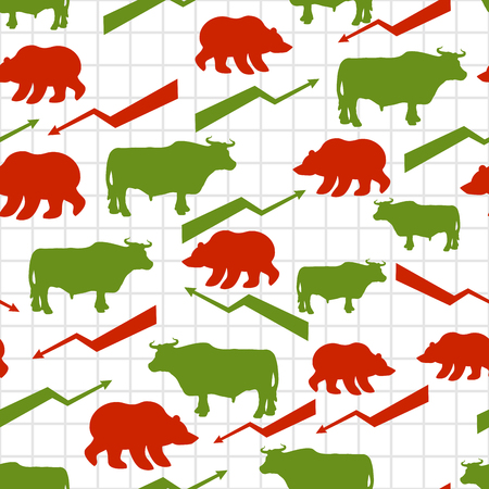 lowering: Bulls and bears seamless pattern. Exchange traders. Red up arrow. Green down arrow. Texture for business fabric. Grid business graph. Raising and lowering rates