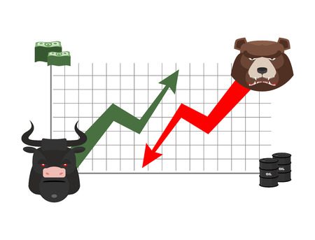 bullish: bull and bear finance. Rise and fall of quotations. Players on Exchange. Business chart, dollar and oil barrel. bulls  green up arrow. Bear red down arrow Illustration