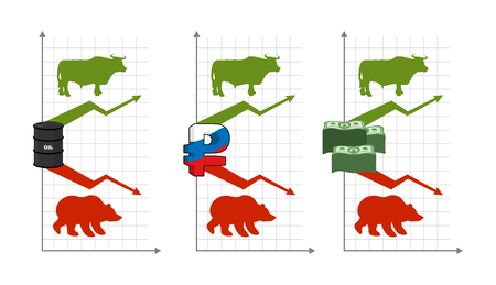 rise fall: Bulls and bears. Rise and fall of quotations. Green up arrow.Red down arrow. Bear and bull. Barrel of oil. Russian ruble. stack of dollars. Players on Exchange. Traders business graph
