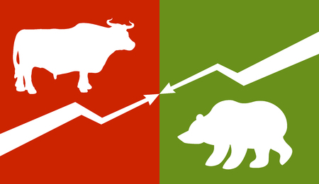 stock quotations: Bull and bear. Traders at stock exchange. Business allegory. Fall and rise of quotations. Down arrow and up arrow. Business characters. Green Zone and red zone on stock exchange