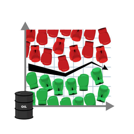 rise fall: Business graph. Rise and fall of  oil price. Barrel of oil. Green boxing gloves. Sstruggle of traders in securities market. Red boxing gloves. Players Exchange