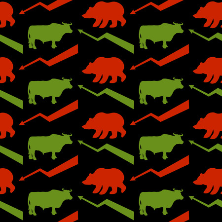 red bull: Bulls and bears traders seamless pattern. Green Red Bull and bear. Rise and fall of course. Green arrow up. Red arrow down. Texture for Exchange fabric. Business background