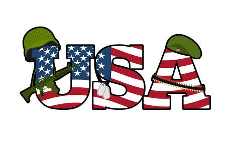 symbool Amerikaanse leger. Militaire Emblem Of America. Amerikaanse vlag. Militair geweer, automatisch. Groene baret en een soldaten helm. Soldaten badge en patroongordel. Nationaal symbool van Amerika Vector Illustratie