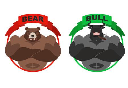 곰과 황소. 강한 곰. 흰색 배경에 뿔 불. 거래소에 선수를위한 유. 황소와 곰의 상인. 화가 동물. 야생 곰과 황소 농장 일러스트