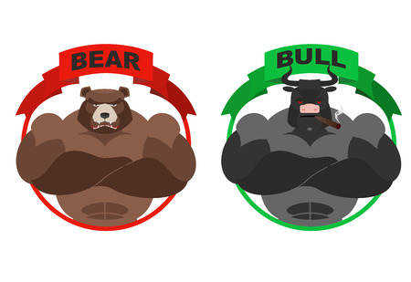 bull fight: Bear and bull. Strong bear. Bull with horns on white background. Metaphor for  players on Exchange. Traders of bulls and bears. Angry animal. Wild bear and bull farm
