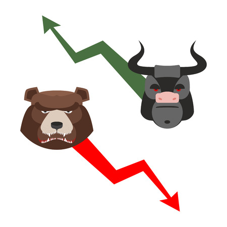 drop down: Bull and bear. Traders allegory. Green up arrow-increase shares. Red down arrow drop quotes. Angry bear and a ferocious Bull. Set of icons for Exchange players