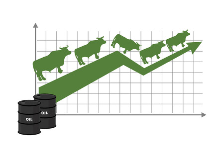 energy market: Growth rate of oil. Oil quotations increase. Barrel of oil. Green up arrow. bulls are coming up. Raising rates. Business graph for traders. Traders bulls players in exchange market Illustration