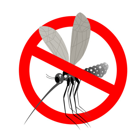 bloodsucker: Stop mosquito. Forbidden Zika virus. Frozen mosquito insect. Emblem against virus Zika. Emblem against malaria. Red forbidding character. Ban flying Bloodsucker insect mosquito