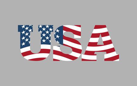 USA flag in text. American flag in letters. National emblem. Patriotic illustration Ilustração Vetorial