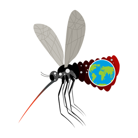 big belly: Mosquito Virus Zika. Big mosquito overtook planet Earth. Big belly from insect. Epidemic on Earth. Large stand-alone mosquito on white background. terrible disease Illustration