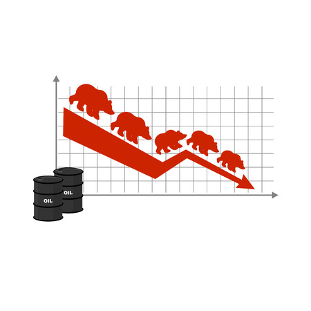 lowering: Fall of oil. Oil quotations. Barrel of oil. Red down arrow. Bears are coming down. Lowering rates. Business graph for traders. Traders bears players on exchange market