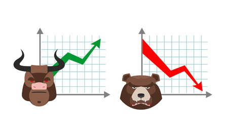 stock quotes: Bull business graph. Growing up green arrow. Bear business schedule. Drop quotes down red arrow. Players on the Exchange. Bulls and bears traders on stock exchange