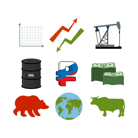 traders: Set for business graphics. Set to infographics. Icon collection for stock traders. Green and red arrow. Oil rig. Barrel of oil. Russian ruble. American currency of dollars. Many of money. Earth. Bull and bear