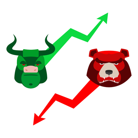 stock quotations: Green Red Bull and bear. Traders at stock exchange. Business allegory. Fall and rise of quotations. Green and red arrow. Character set for business infographics