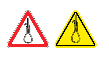 noose: Warning sign attention Hangman. Hazard yellow sign the death penalty. Hangmans noose on red triangle. Sign hanging.Danger of hanging.. Thick rope loop road signs Illustration
