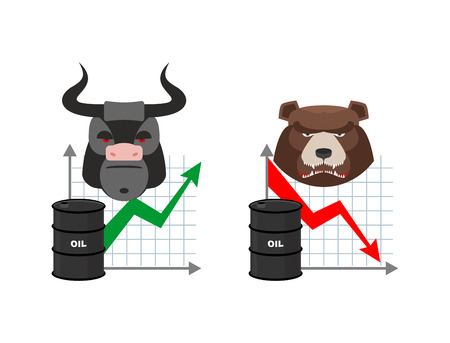 quotations: Oil quotations increase. Barrel of oil declines. Bull and bear. Business graph. Traders in securities market. Players on the Exchange. Green arrow and red arrow