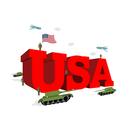 independance: USA letters 3D. Patriotic artwork military in America. Soldiers welcomed give honor. Paper impregnated and soldiers. Planes fly over army. Volumetric letters. Flag of USA. Flag of America