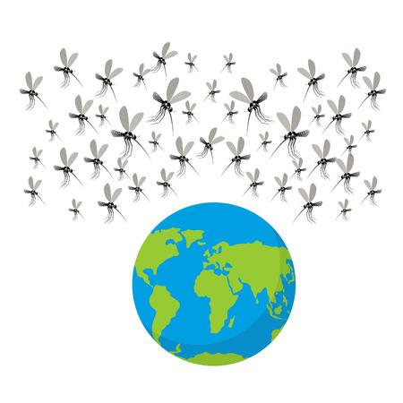 Zika 바이러스 모기. 모기의 Fflock. 지구 공격. 지구는 위험에 처해있다. Zika 바이러스 전염병. 인류의 많은 모기 질환 바이러스