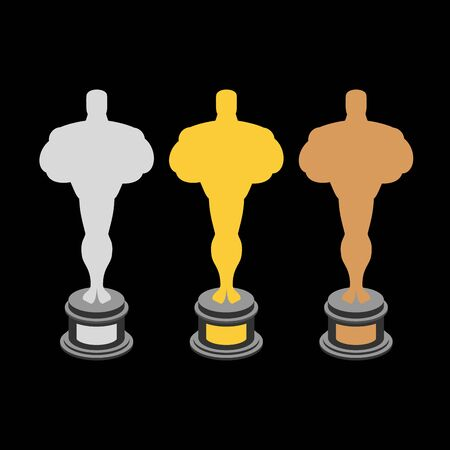 rewarding: Golden statuette. Bronze statuette. Silver statuette. Set of statuettes for rewarding.  Gold, silver and Bronze figure on pedestal Illustration