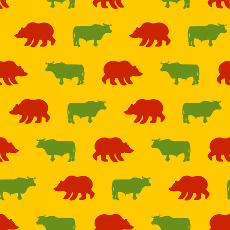 red bull: Bulls and bears seamless pattern. Green Red Bull and bear. Allegory of  background for Exchange. Traders in securities market. Texture of fabric business