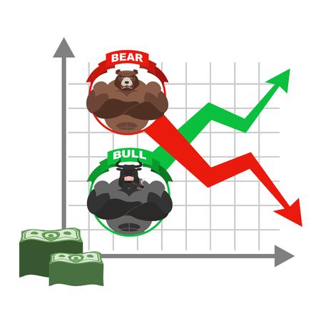 Aufstieg und Fall von Zitaten des Dollars. Wetten auf Exchange. Bären und Bullen. Rote und grüne Pfeil. Business-Grafik. Diagramm der Händler an der Börse. Kauf und Verkauf von Aktien Vektorgrafik