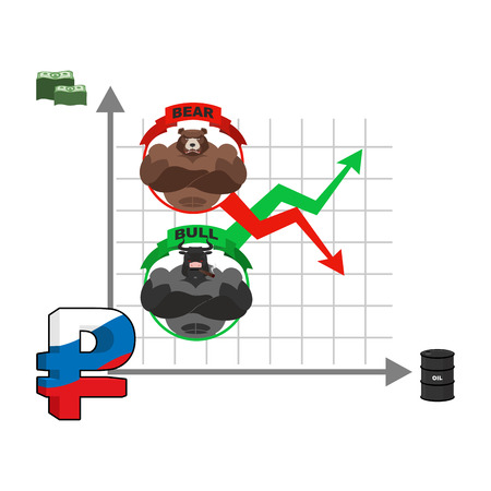 stock quotes: Rise and fall of Russian ruble. Change quotes of national currency. Oil and dollars. Market dependence from oil reserves. Barrel of oil. Bull and bear. Traders at stock exchange Illustration