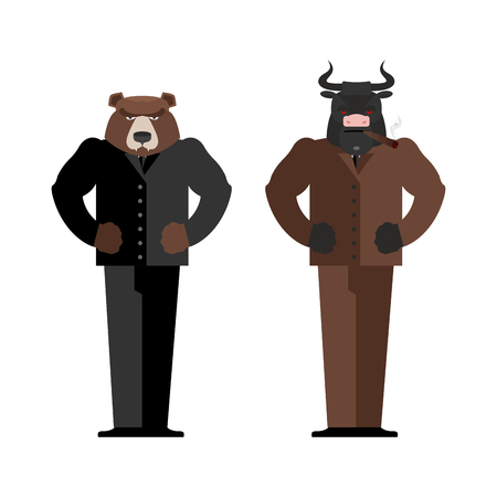 buy shares: Bull Businessman. Bear Businessman. Bulls and bears traders on stock market. Business Office suit. Confrontation between traders in securities market Illustration