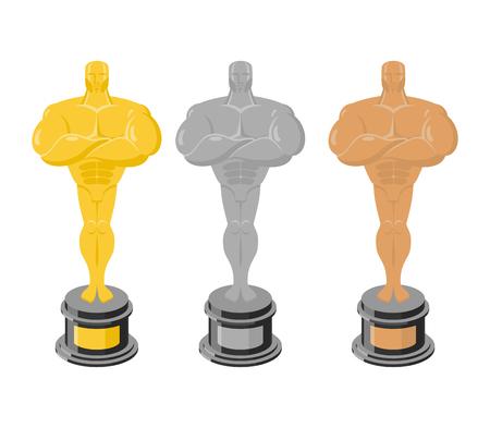 commendation: Golden statuette isolated. Silver figurine on a white background. Bronze statuette. Gold, silver and Bronze figure on  white background