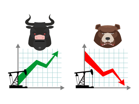 bearish market: Bear and bull. Quotations of oil production. Oil rig. Depreciation of oil. Global rise in oil prices. Green up arrow. Traders bulls. Red down arrow traders bears