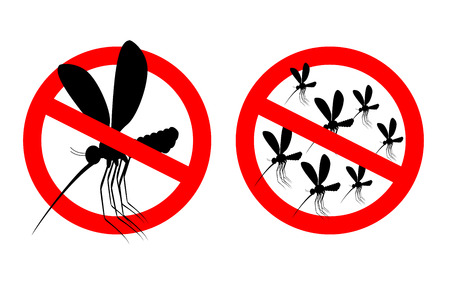 stop mosquito: Stop mosquito. Forbidden swarm mosquitoes. Frozen mosquito insect. Emblem against virus Zika. Emblem against malaria. Red forbidding character. Ban flying Bloodsucker insect mosquito