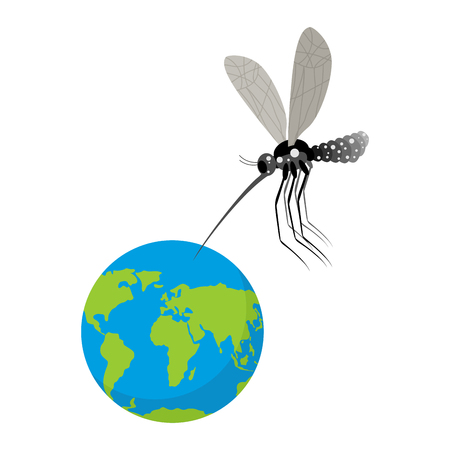 bites: Mosquito and Earth. Zika virus mosquito attacked planet. Humanity is in danger. Epidemic is threat to people. Mosquito bites planet