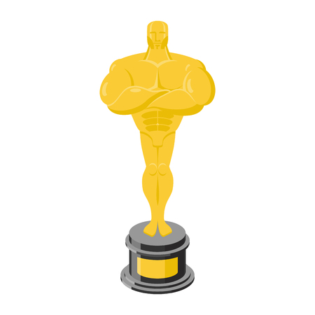 nominations: Golden statuette isolated. Golden statue on white background. Gold figure on pedestal