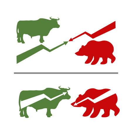 rise fall: Bull and bear. Rise and fall of securities. Green Bull. Red bear. Confrontation between traders on stock exchange. Business illustration Illustration