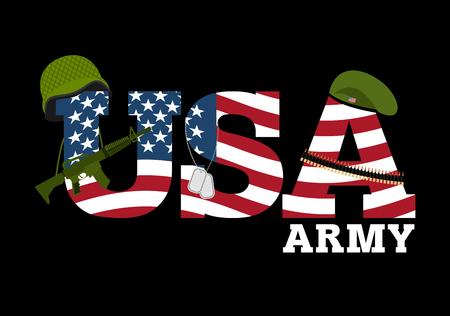 미국 육군. 미국의 군사 장비. 미국 군대 로고. Amrik 플래그입니다. 자동 소총. 군인 베레모. 군사 보호 헬멧. 카트리지 벨트와 군인 배지입니다. 어두운  일러스트