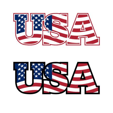 Tekst USA. Flaga USA. Stany Zjednoczone Ameryki. Flaga w listach. Godło dla Stanów Zjednoczonych. Czcionka dla Ameryki. Ilustracje wektorowe
