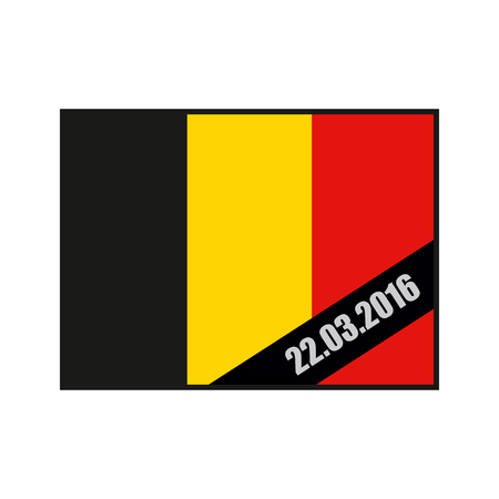 terrorist attack: Mourning Ribbon on flag of Belgium. Attack in Brussels on March 22, in the year 2016. Grief for dead, in Brussels. explosion in Belgium. terrorist attack in Brussels