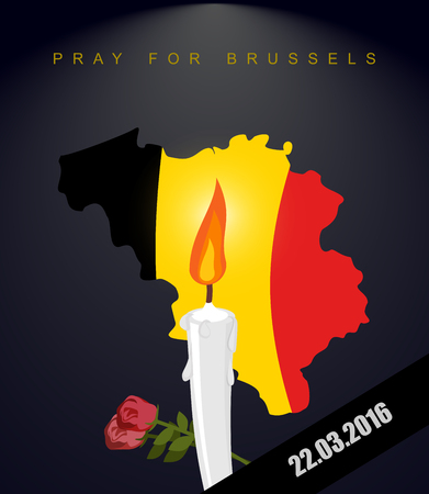terrorist attack: Pray for Brussels. Map Of Belgium. Flag Of Belgium. Mourning in Belgium. Terrorist attack in Belgium. Black mourning Ribbon. Explosion in Brussels March 22, 2016. White candle and flowers Illustration